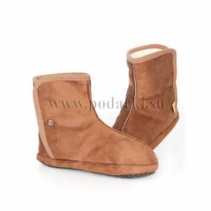 Тапочки-сапожки велюровые Вулнайт, коричневый