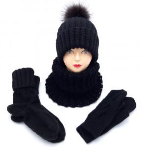 Вязаный комплект шапка с меховым помпоном + снуд, варежки и носки, черный
