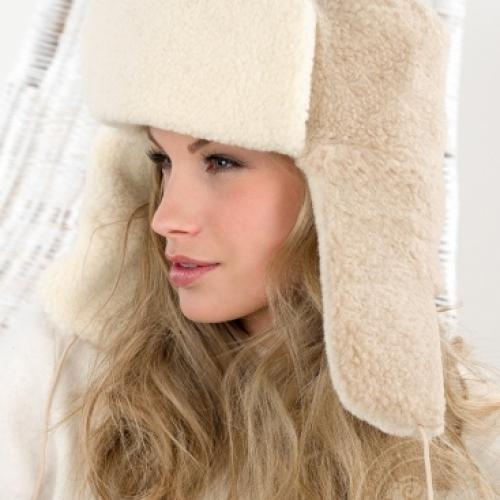 Сибирская шапка SIBERIAN WOOL, бежевая