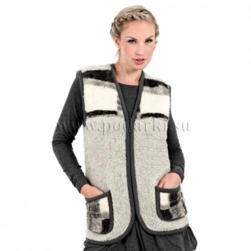 Жилет из овечьей шерсти Альпы-Молния, серый/клетка