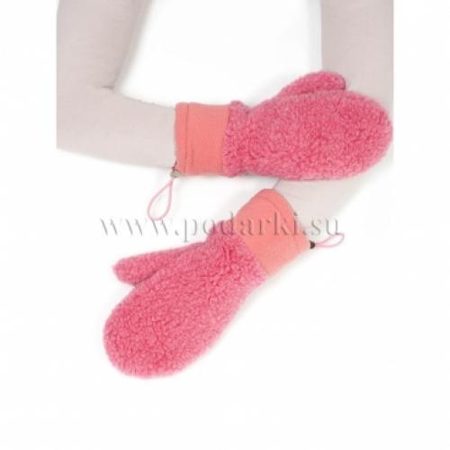 Варежки из шерсти и флиса, розовый
